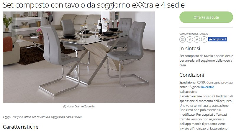 Coupon tavoli for Groupon shopping arredamento